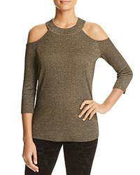 Design History Cold Shoulder Metallic Sweater Gold