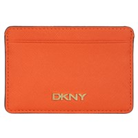 Dkny Bryant Park Small Leather Card Holder Orange