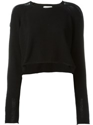 Lost And Found Ria Dunn Boat Neck Cropped Jumper Black