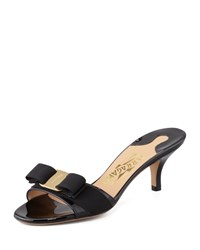 Glory Patent Bow Slide Sandal Black Salvatore Ferragamo Nero
