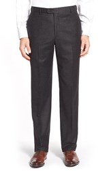 Men's Hickey Freeman 'B Series' Flat Front Solid Wool And Cashmere Trousers