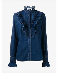 Stella Mccartney Denim Ruffle Shirt Blue Denim