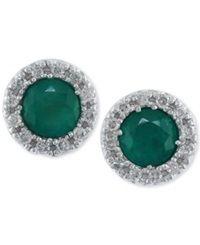 Effy Collection Brasilica By Effy Emerald 3 4 Ct. T.W. And Diamond 1 8 Ct. T.W. Stud Earrings In 14K White Gold