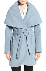 T Tahari Women's Wool Blend Belted Wrap Coat Pale Blue