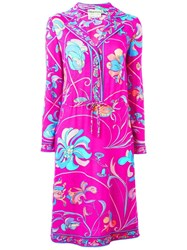 Emilio Pucci Vintage Floral Print Dress Pink And Purple