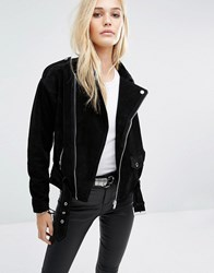 Noisy May Suede Biker Jacket Black