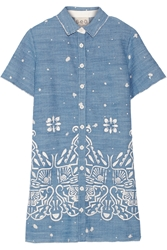 Sea Embroidered Denim Mini Dress