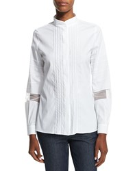 Escada Long Sleeve Embroidered Stripe Shirt White