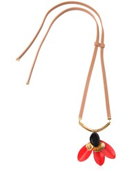 Marni Flora Leather Horn And Resin Tie Necklace