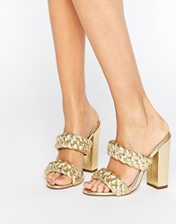 Asos Highgate Plaited Mules Gold