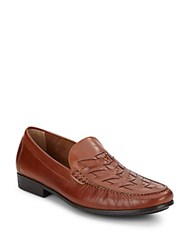 Johnston And Murphy Shurden Woven Leather Loafers Tan