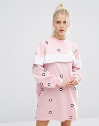 Lazy Oaf Oversized Sweat Dress With Frill And Spots Pink