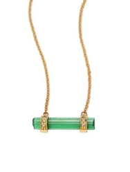 Jacquie Aiche Diamond Green Tourmaline And 14K Yellow Gold Bar Pendant Necklace Gold Green