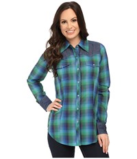 Roper 9901 Ombre Plaid Shirt Green Women's Clothing