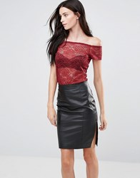 Y.A.S Sheer Off Shoulder Lace Top In Red Cabernet