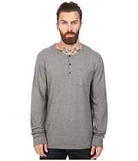 Alternative Apparel Organic Classic Classic Henley Oxford Grey Heather Men's Long Sleeve Pullover Gray