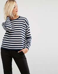Sisley Stripe Fine Knit Jumper White