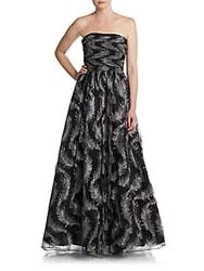 David Meister Embroidered Strapless Gown Silver Black