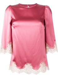 Dolce And Gabbana Lace Trim Boxy Blouse Pink And Purple