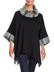 Saks Fifth Avenue Faux Fur Trimmed Poncho Black Heather Grey