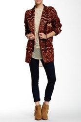 Free People Faux Fur Patterned Coat Red