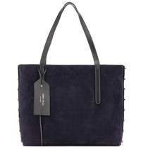 Jimmy Choo Twist East West Leather And Suede Tote Blue