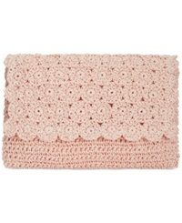 Straw Studios Crochet Crossbody Clutch Peach