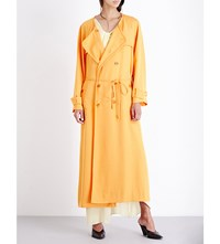 Sies Marjan Double Breasted Twill Trench Coat Orange