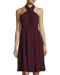 Halston Crisscross Sleeveless Flared Ponte Dress Black