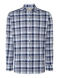 T.M.Lewin Check Slim Fit Long Sleeve Classic Collar Shirt Navy