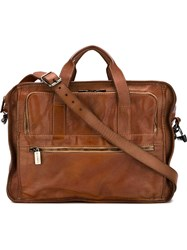 Numero 10 Front Zip Pocket Briefcase Brown
