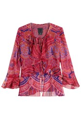 Anna Sui Shell Print Silk Top With Ruffle Trim Pink