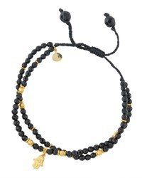 Tai Spinel Beaded Bracelet W Hamsa Charm Black