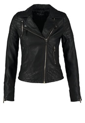 Miss Selfridge Molly Faux Leather Jacket Black