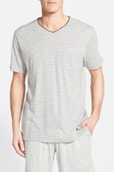 Daniel Buchler Pima Cotton And Modal V Neck T Shirt Gray