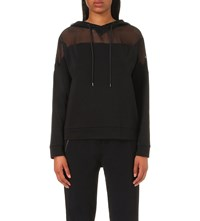 The Kooples Mesh Cotton Blend Hoody Black