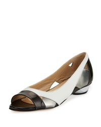 Amalfi By Rangoni Iulia Colorblock Leather Open Toe Flat White Black