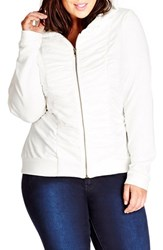 Plus Size Women's City Chic Ruched Jersey Hoodie Ivory