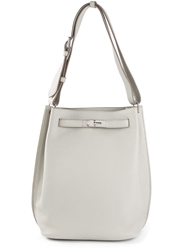 Hermes Vintage Twist Lock Shoulder Bag Nude And Neutrals