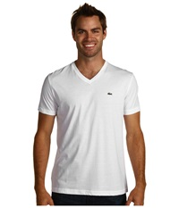 Lacoste S S Pima Jersey V Neck T Shirt White Men's Short Sleeve Pullover