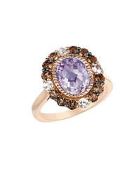 Le Vian Amethyst Smoky Quartz White Sapphire And 14K Rose Gold Ring Purple