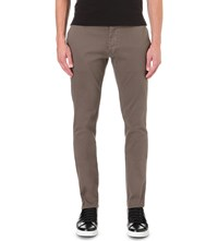 Armani Jeans Regular Fit Tapered Stretch Cotton Chinos Brown