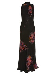Etro High Neck Sleeveless Floral Print Gown Black Multi