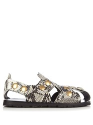 Acne Studios Oline Snake Effect Leather Sandals Python