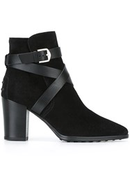 Tod's Strappy Buckled Ankle Boots Black