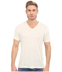 John Varvatos Short Sleeve Knit V Neck With Pintuck Seam Details Salt Men's Clothing White