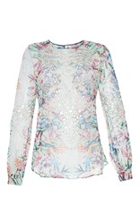 Zuhair Murad Tropical Print Blouse With Embroidery Macrame Cutwork White