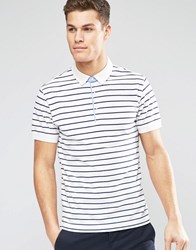 Esprit Stripe Pique Polo Shirt White