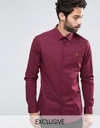 Farah Polka Dot Shirt In Slim Fit With Stretch Bordeaux Red