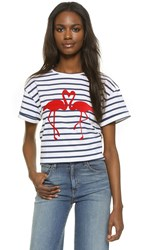 Etre Cecile Flamingo Oversize Tee White Navy